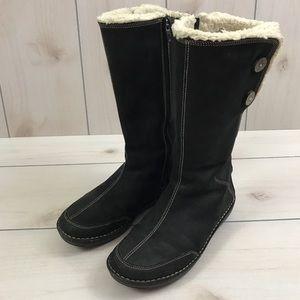 Teva Tonalea Black Leather Fur Lined Winter Boots